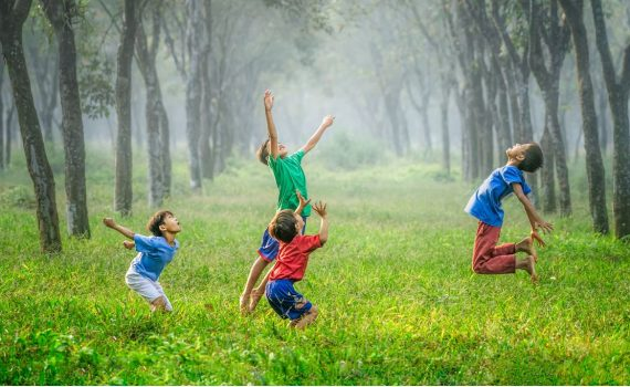 Children playing on a field
